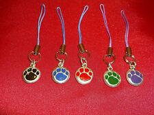 Paw Print-Black.Blue,Red,Green,Purple 3 Blue 2 Purple Cell Phone Strap-Set of 5