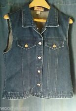 Apache Vintage Vest Size L Fitted 100% Cotton Denim Made in USA No pockets