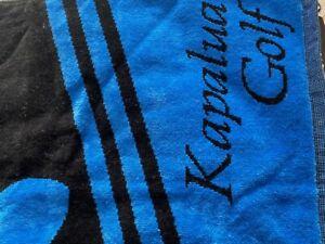 "QUALITY WOVEN COTTON ""KAPAPULA HAWAII"" GOLF TOWEL BLUE & BLACK 47 X 40 MM"