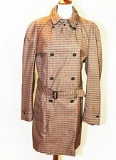 2520$ GUCCI PLAID GREY RED TRENCH COAT, NEW, SIZE IT 52/XL