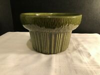 VINTAGE MCCOY FLORALINE POTTERY PLANTER ROUND SHAPE GREEN IN COLOR #571