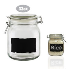 Chalkboard Label Glass Jar Canister 33oz Air Tight Lid Food Storage Container