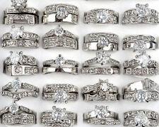 Wholesale 10PCS Lots Clear Cubic Zircon CZ Platinum P Women Wedding Bridal Rings