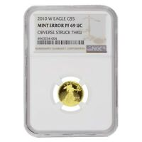 2010 W 1/10 oz $5 Proof Gold American Eagle NGC PF 69 UCAM Mint Error (Obv
