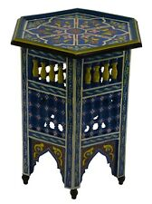 Moroccan Table Wood End Table Coffee Middle East Arabesque Decor Handmade Blue