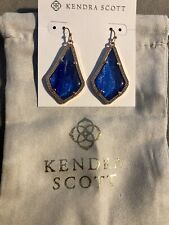 NWT Kendra Scott Alex Statement Earrings In Navy Blue Dusted Rose gold + Pouch