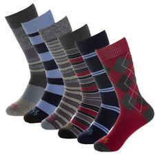 6 Pairs Paul Miller Men's Premium Cotton Dress Socks Red Blue Gray Stripe Argyle