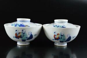 L1973: Japan Old Imari-ware Person Landscape pattern TEA BOWL/dish of soup 2pcs