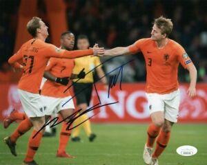 Netherlands Matthijs de Ligt Frenkie De Jong Dual Autographed 8x10 Photo JSA COA