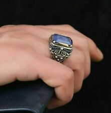 Sterling 925 Silver Handcraft Jewelry Nice Blue Paraiba Tourmaline Men's Ring