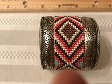 Large Cuff Bracelet Silver Southwest Boho Style with beautiful beadwork