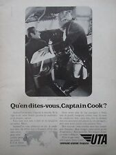 1971-72 PUB COMPAGNIE UTA AIRLINE AIRLINER CAPTAIN JAMES COOK ORIGINAL FRENCH AD