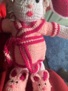 """Handcrafted Crochet """"HARE ROLLER BUNNY"""" Stuffed Toy/Doll"""