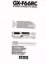 Akai  Bedienungsanleitung user manual owners manual  für GX-F 66 RC