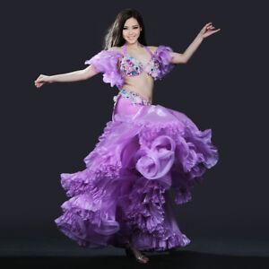 2020New Belly Dance Costume Set Bra Top Belt Skirt Dress Carnival Hollywood 3PCS