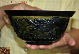 Marked China dynasty glass glaze carved animal Dragon statue Tea cup Bowl Bowls