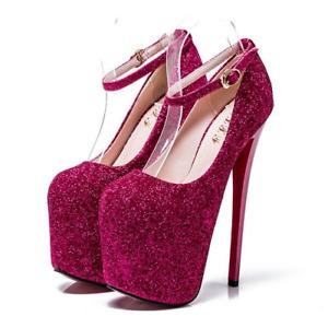 Drag Queen Glittering Ankle Strap Heels Mens Platform Crossdresser Pink Shoes