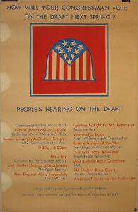Rare 1970 ANTI Vietnam War Draft WOMEN'S INTL LEAGUE FOR PEACE & FREEDOM Poster