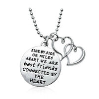 *UK* 925 SILVER PLT 'SIDE OR MILES APART BEST FRIEND BY HEART' ENGRAVED NECKLACE