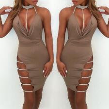 Womens Deep V Neck Halter Backless Choker Slit Sequin Bodycon Mini Dress Khaki L