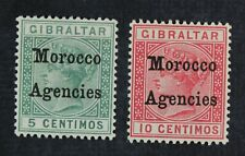 CKStamps: Great Britain in in Morocco Stamps Collection Scott#12a 13a Mint LH OG