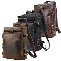 "Real Leather Backpack Men Travel Office Hiling 15.6"" Laptop Daypack School Bag"