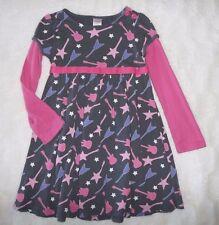 Sz 5 Gymboree Super Star Gray Pink Purple Double Layer Dress w/ Guitars