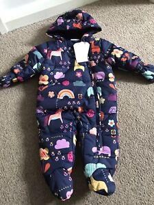 Next Baby Girls Pramsuit All In One Coat Navy Print 0-3 Months Snowsuit