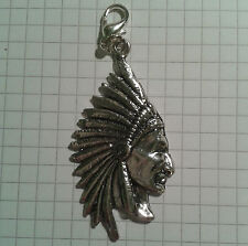 TIBETAN SILVER LARGE INDIAN HEADDRESS ON LOBSTER CLASP FOR HAND BAG