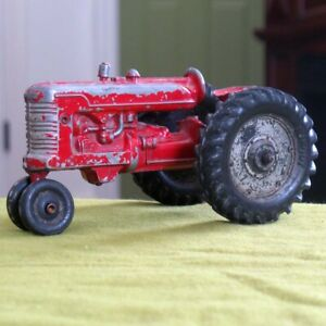Vintage 1950s / 60s Lansing Slik-Toy Farm Tractor - Red Made in USA Iowa