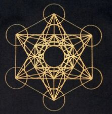 Crystal Grid Cloth METATRONS CUBE 12 Inch Black Gold 100% Cotton Gridding