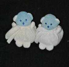 Lot 2 peluche doudou ours bleu MUSTELA MUSTI boule blanc + crème 12 cm TTBE