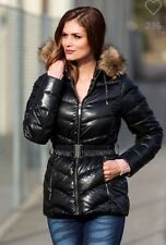 WOMENS BLACK DUCK DOWN QUILTED PUFFER COAT JACKET FUR PARKA UK 14 16 Eu 44 46
