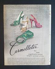 1948 women's CARMELETTES alligator grained calfskin shoes purse ad