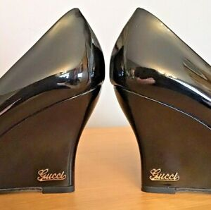Gucci Heels Black Patent Leather Wedge Closed Toe Dust Bag Barely Worn UK 4