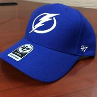 Tampa Bay Lightning 47 Hat Blue Or Black With White Embroidered Logo Adjustable