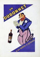 """""""DUBONNET"""" Annonce originale entoilée L'ILLUSTRATION vers 1930 (DRANSY)31x41cm"""