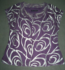 Jacques Vert Purple Blouse Top with Silver Detail - Fully Lined - Size 14 - New