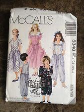 McCall's Fashion Basics for Kids Pattern 5340 Girl's Dress & Jumpsuit 10,12,14
