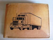 Mens Mankind Leather RFID Wallet w/18 Wheeler Truck Driver Image & Message-Gift