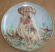 Lovely Franklin Mint EYE TO EYE Yellow Labrador And Wren 8 Inch Plate