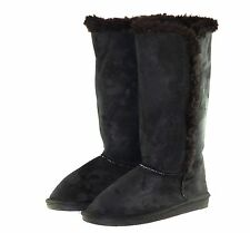 WE-B002 New Knee High Flats Faux Suede Casual Winter Women Boots Black 6