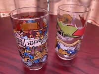 Vintage 80s Set Of 2 Muppets Drinking Glasses, McDonalds 1981 Collectible
