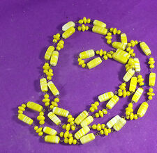 "VINTAGE YELLOW NECKLACE 47"" LONG IRREGULAR BEADS LOOK HANDMADE"