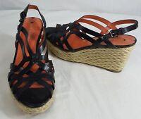 Via Spiga Black Wedge Strappy Leather Sandal Heels Shoes Womens Heel Size 6.5M