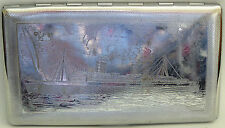 MARITIME : METAL CIGARETTE CASE WITH CLASSIC TWO FUNNEL SHIP ON IT. (CJ)