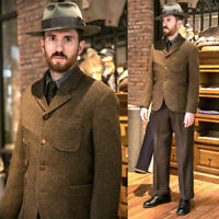 Brown Wool Suits Men's Vintage 1930s Three Button Sport Hunting Suits Separately