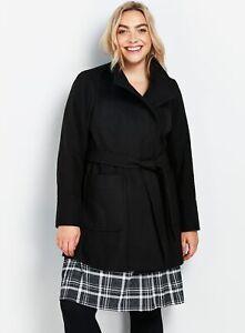 Evans Womens Black Belted Wrap Coat Warm Winter Jacket Outwear Top Body Warmer