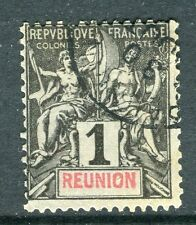 French Reunion; 1892 early Tablet type issue fine used 1c. value