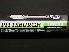 "NEW Pittsburgh Click Stop Torque Wrench 1/4"" Drive Reversible Case SAE & Metric"